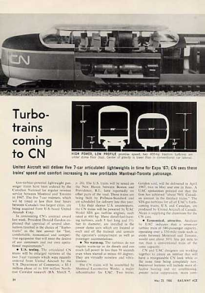 """Turbo-trains Comming To Cn"" Article (1966)"