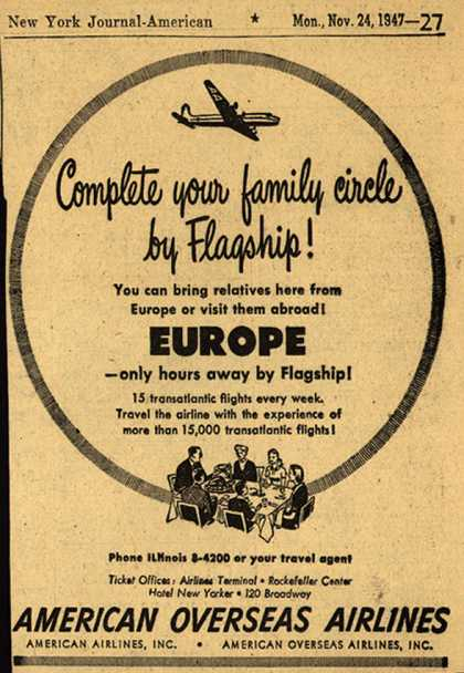 American Overseas Airline's Europe – Complete your family circle by Flagship (1947)