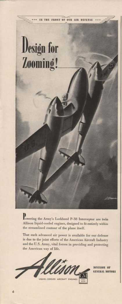 Design for Zooming Allison Engines Print A (1941)