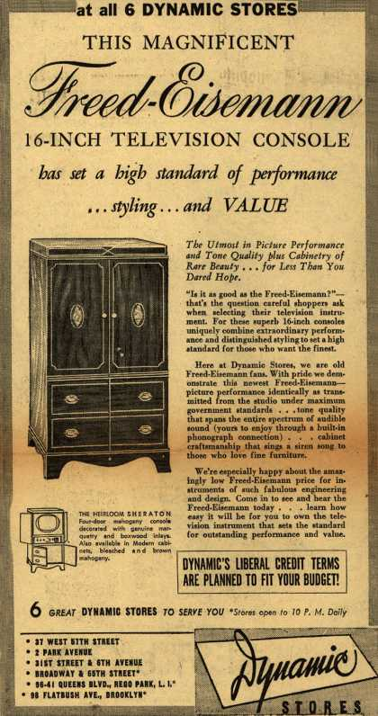 Freed-Eisemann's 16 inch television console – This Magnificent Freed-Eisemann 16-Inch Television Console has set a high standard of performance... styling... and Value (1950)
