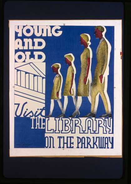 Young and old visit the library on the parkway. (1936)