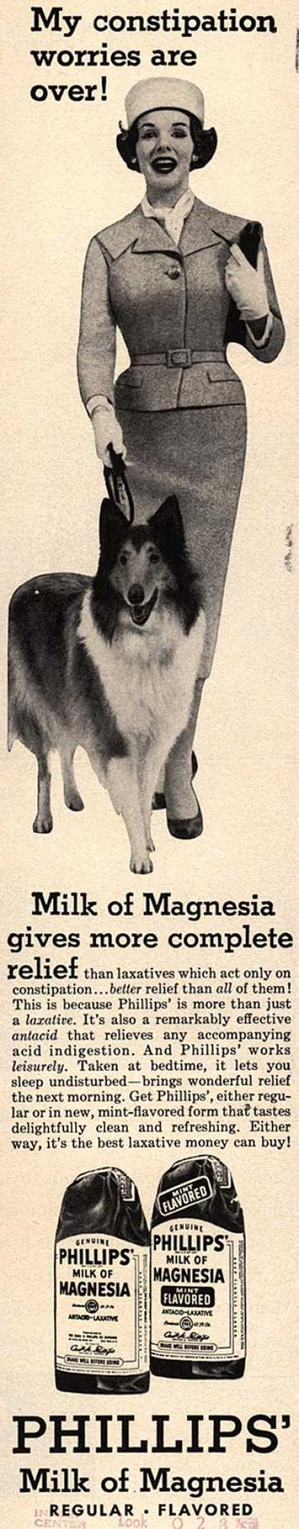 Chas. H. Phillips Chemical Co.'s Milk of Magnesia – My constipation worries are over (1958)
