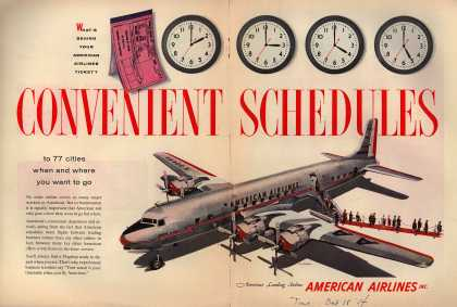American Airlines – What's Behind Your American Airlines Ticket? Convenient Schedules to 77 Cities When and Where You Want to Go (1954)