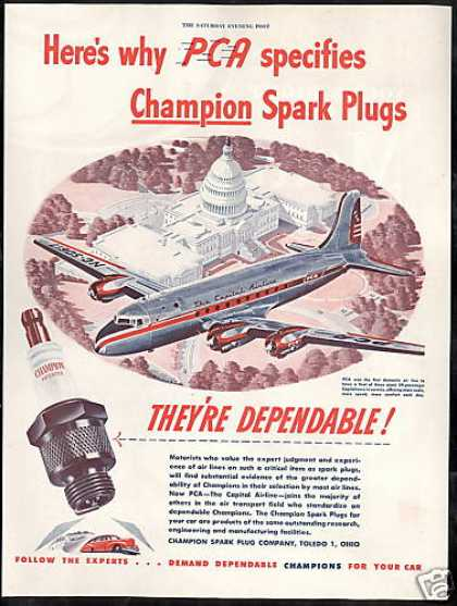 PCA The Capital Airlines Champion Spark Plug (1946)