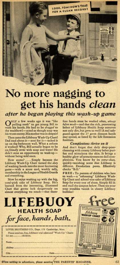 Lever Brothers Company's Lifebuoy Health Soap – No more nagging to get his hands clean (1933)