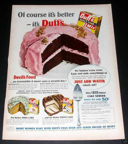 "Duffs ""Devil's Food Cake Mix"" Ad, Exc (1949)"