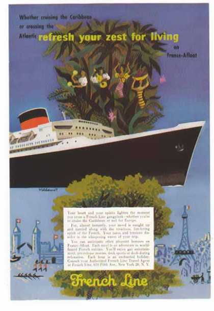 French Line Cruise -Zest for Living on a France-Afloat (1954)