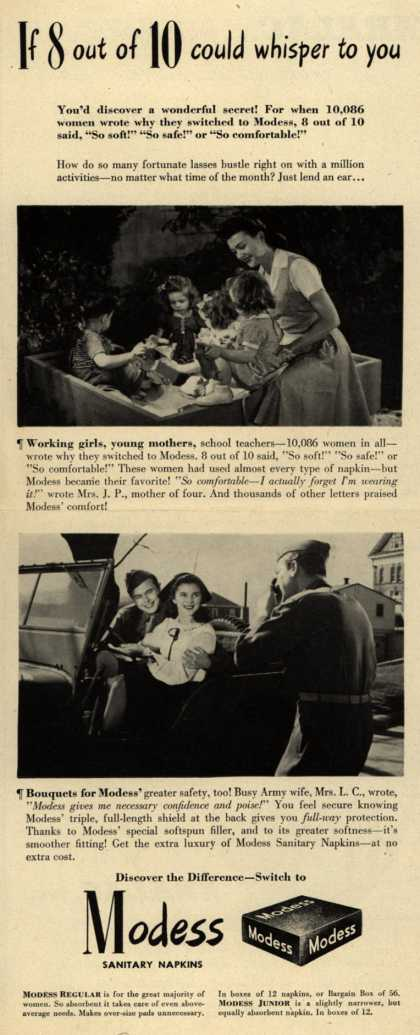 Modes's Sanitary Napkins – If 8 out of 10 could whisper to you (1944)