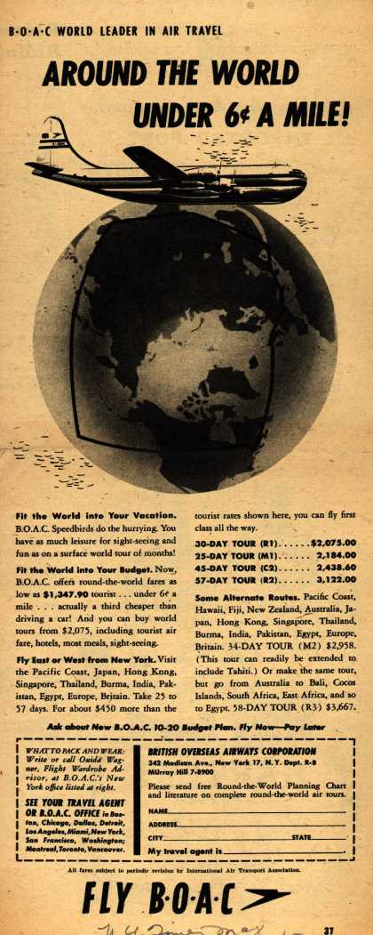 British Overseas Airways Corporation – BOAC World Leader in Air Travel AROUND THE WORLD UNDER 6 CENTS A MILE (1954)