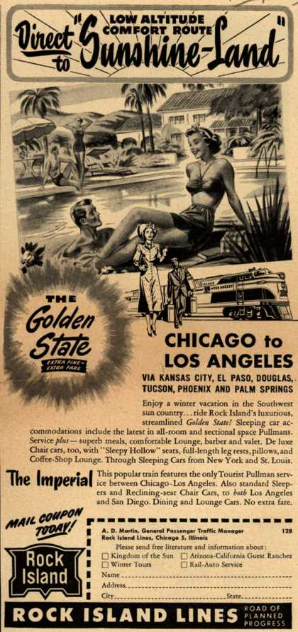 "Rock Island Line's Chicago to Los Angeles – Direct to ""Sunshine Land"" (1949)"