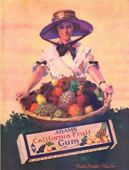 Adams California Fruit Gum, Chewing Gum Sweets Fruit Harvest, USA (1910)