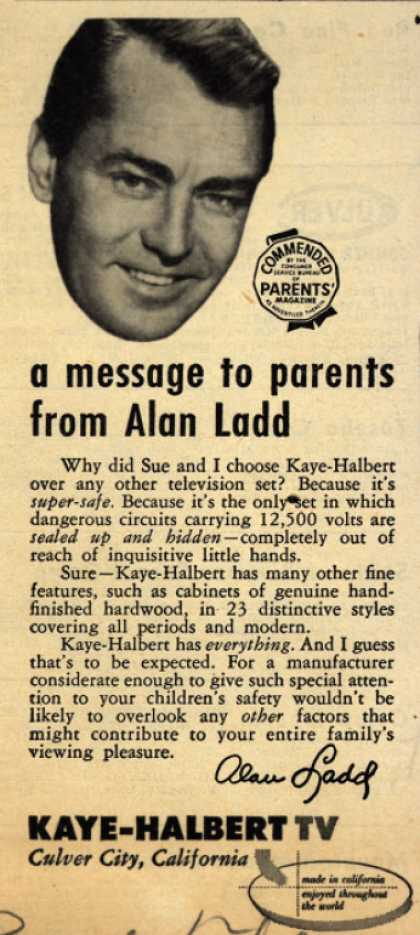 Kaye-Halbert TV's Television – A message to parents from Alan Ladd (1951)