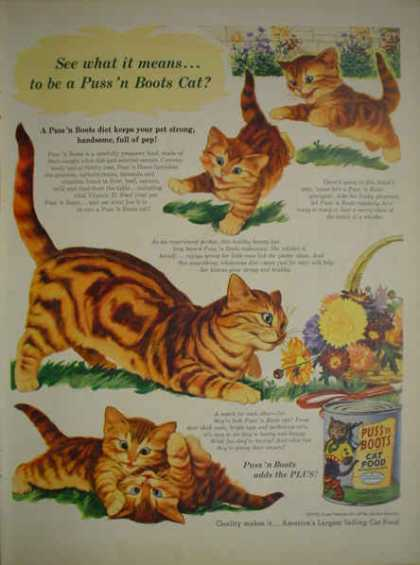 Puss 'n Boots Cat Food Kittens Cats (1952)