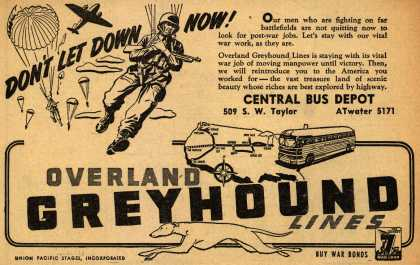 Interstate Transit Lines (Overland Greyhound)'s War Support – Don't Let Down Now (1945)