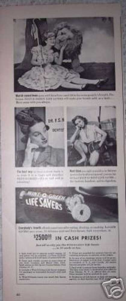 Original Ad Life Savers Bo Peep and Lion (1941)