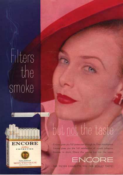 Encore Cigarettes Woman Hat Smoking (1953)