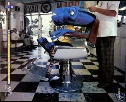 Sony Walkman Blue Monster Barber Chair Photo (2000)