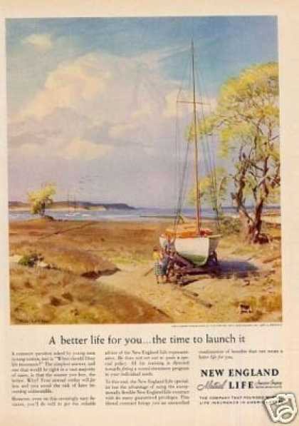 New England Life Insurance Ad Tom Lovell Art (1959)