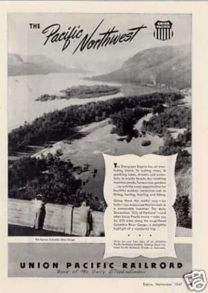 Union Pacific Railroad Ad Columbia River Gorge (1947)