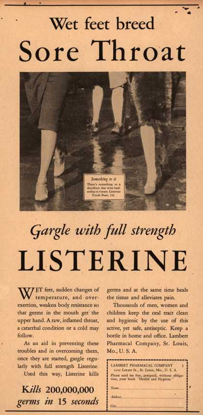 Lambert Pharmacal Company's Listerine – Wet feet breed Sore Throat (1930)