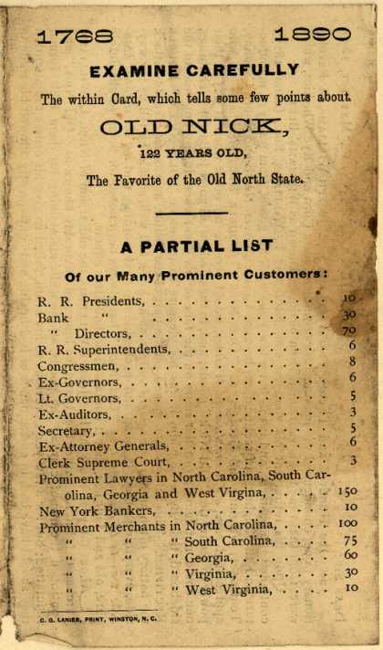 Old Nick Whiskey Co.'s Old Nick Whiskey – Examine Carefully The within Card, which tells some few points about Old Nick (1890)