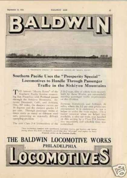 Baldwin Locomotive Ad Southern Pacific F-4 2-10-2 (1922)