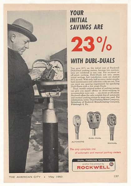 Dubl-Dual Dual Parking Meter 23% Savings (1960)