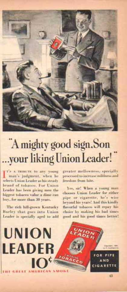 Union Leader Smoking Tobacco – P. Lorillard Company (1939)