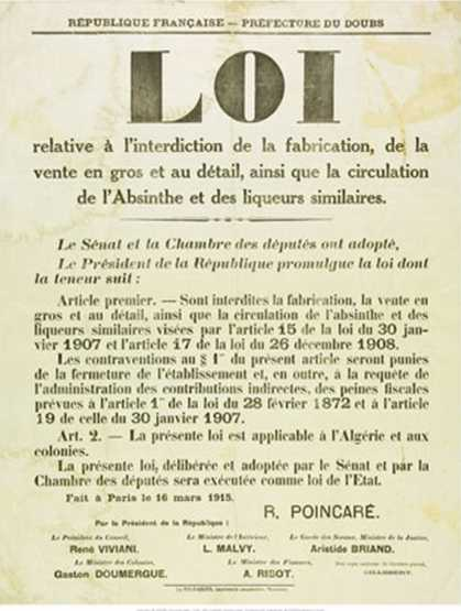 Proclamation Banning Absinthe (1915)