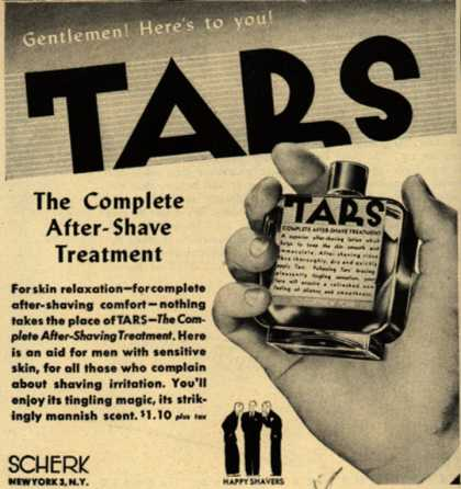 Scherk's Tars After-Shave Treatment – Gentlemen! Here's to you! Tars (1945)