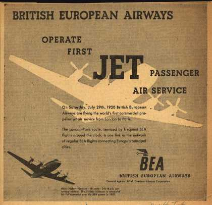 British European Airway's Jet Passenger Air Service – British European Airways Operate First Jet Passenger Air Service (1950)