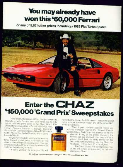 Hunk Tom Selleck & Ferrari In Chaz Cologne C (1982)
