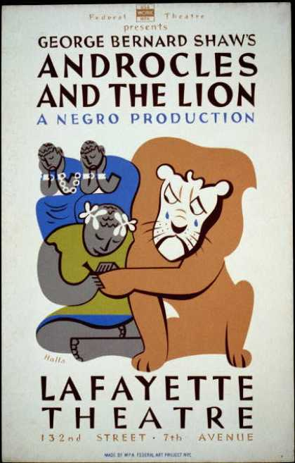 "Federal Theatre presents George Bernard Shaw's ""Androcles and the lion"" – A Negro production / Halls. (1936)"
