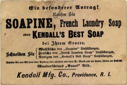 Kendall Mfg. Co.'s Sopine, French Laundry Soap, Kendall's Best Soap – Special Offer! Buy Soapine, French Laundry Soap or Kendall's Best Soap From Your Grocer