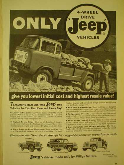 Jeep 4 Wheel Drive Vehicles. Lowest iniital cost and highest resale value (1959)