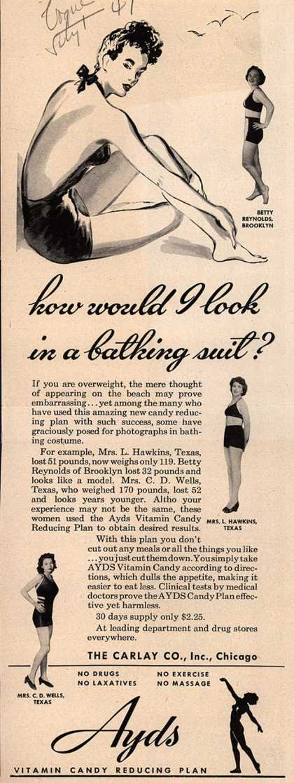 Carlay Company, Incorporated's Ayds – how would I look in a bathing suit? (1947)