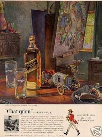 Johnnie Walker Scotch Whisky Ad Peter Helck Art (1957)