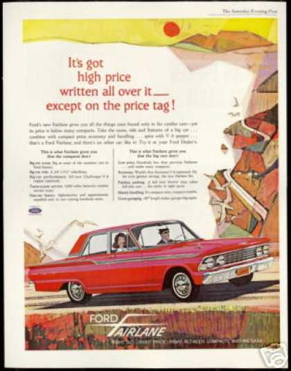 Red Ford 4dr Fairlane Vintage Print Car (1962)
