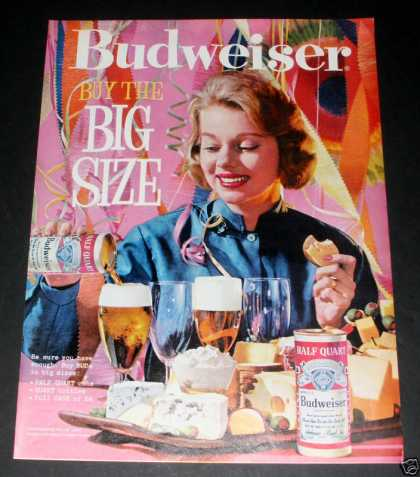 Budweiser Beer, Half Qt Can, Exc (1961)