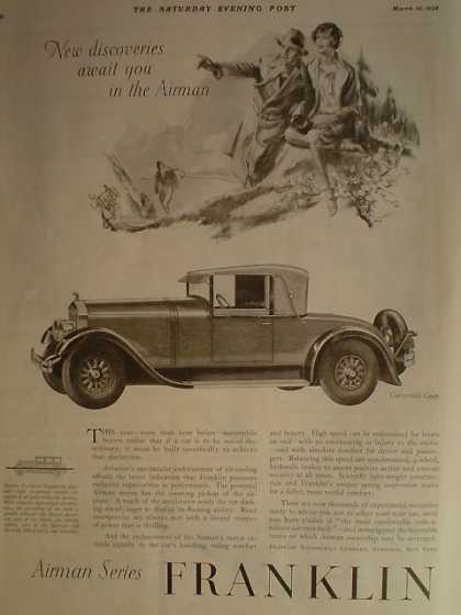 Franklin Airman Series Car AND Robt Burns Cigars Cuba (1928)