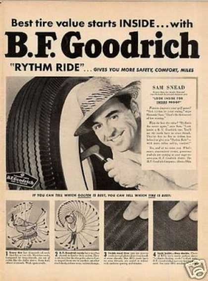 B.f. Goodrich Tire Ad Sam Snead (1950)