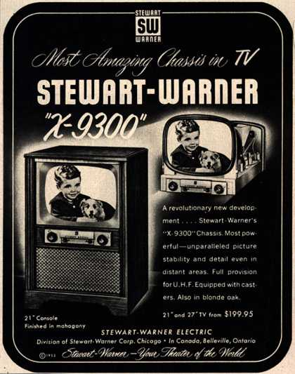 "Stewart-Warner Corporation's ""X-9300"" Chassis – Most Amazing Chassis in TV Stewart-Warner ""X-9300"" (1953)"
