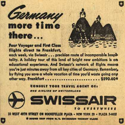 SwissAir's Germany – Germany, more time there (1954)