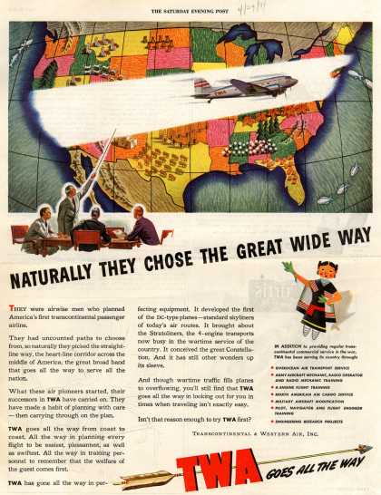 Transcontinental & Western Air – Naturally They Chose The Great Wide Way (1944)