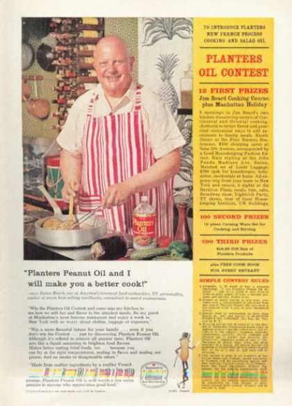 Planters Peanuts Ad James Beard Cooking Chef (1961)
