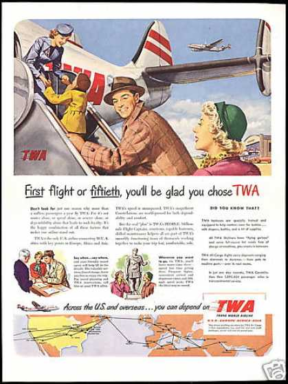 TWA Airlines Airplane Stewardess System Map (1950)