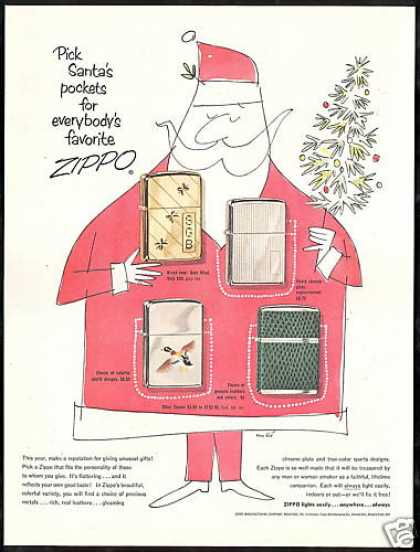 Zippo Cigarette Lighter Christmas Gift Santa (1954)