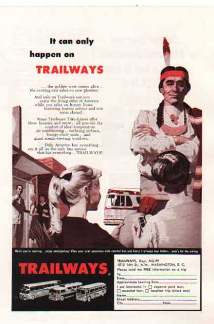 Trailways Bus – ...the golden west comes alive.... (1959)
