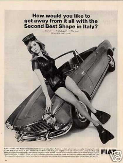 Fiat 1500 Spider Car Ad Girl In Scuba Suit (1966)