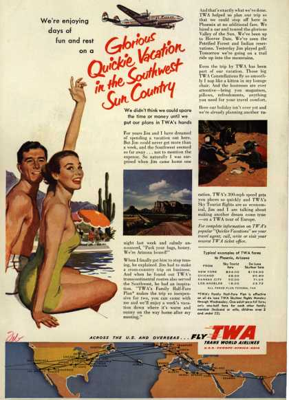 Trans World Airline's Southwest tours – Glorious Quickie Vacation in the Southwest Sun Country